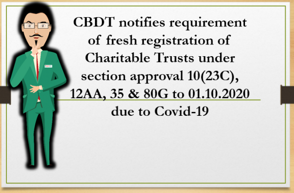 CBDT notifies requirement of fresh registration of Charitable Trusts under section approval 10(23C), 12AA, 35 & 80G to 01.10.2020 due to Covid-19