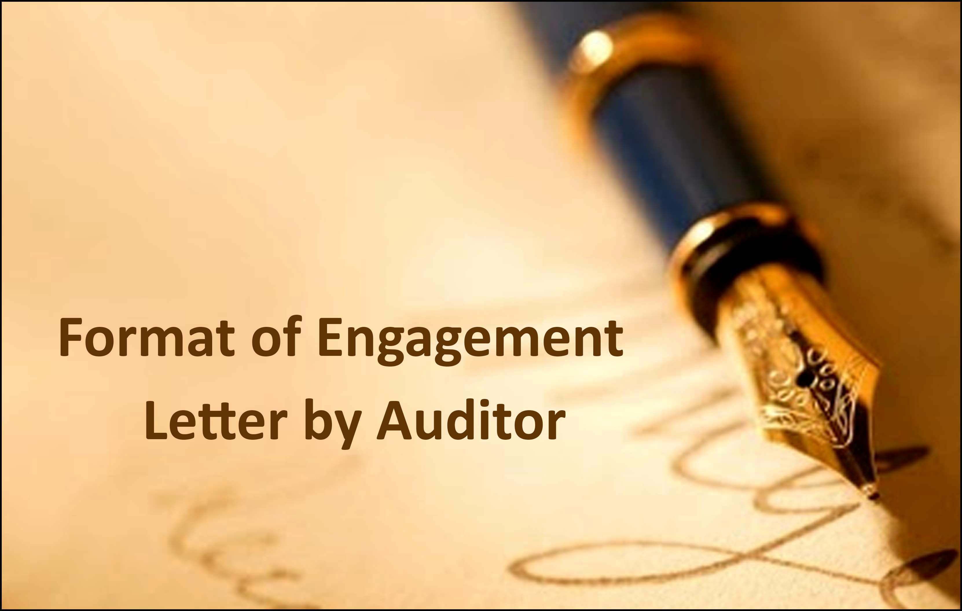 Format of Engagement Letter by Auditor