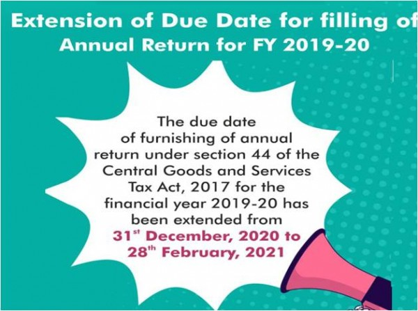 Extension of Due Date for filing of Annual Return for FY 2019-20 extended to February 28, 2021.