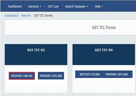 Filing Form GST ITC-01 - Declaration for Claim of ITC on New GST Registration