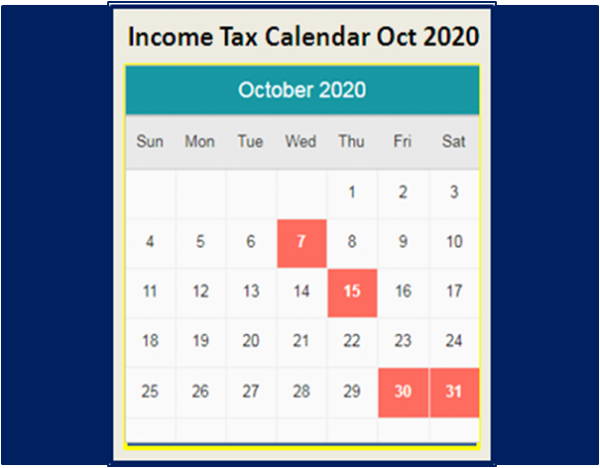 Due Dates Income Tax Calendar October 2020
