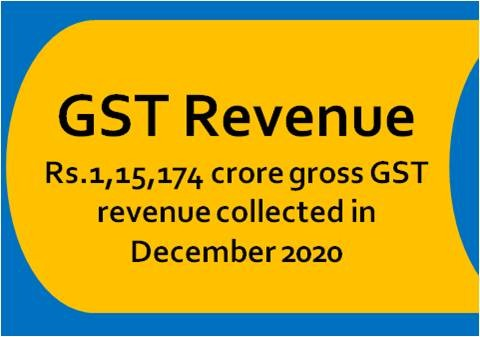 Rs.1,15,174 crore gross GST revenue collected in  December 2020