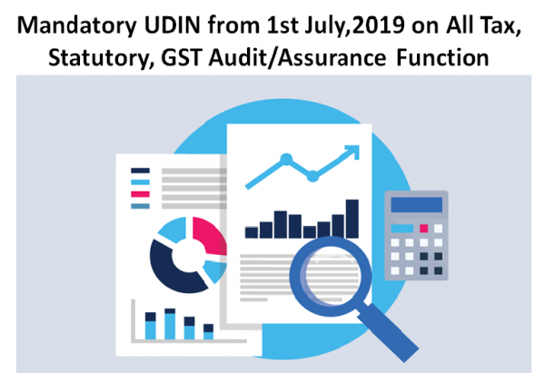 Mandatory UDIN from 1st July,2019 on All Tax, Statutory, GST Audit-Assurance Function