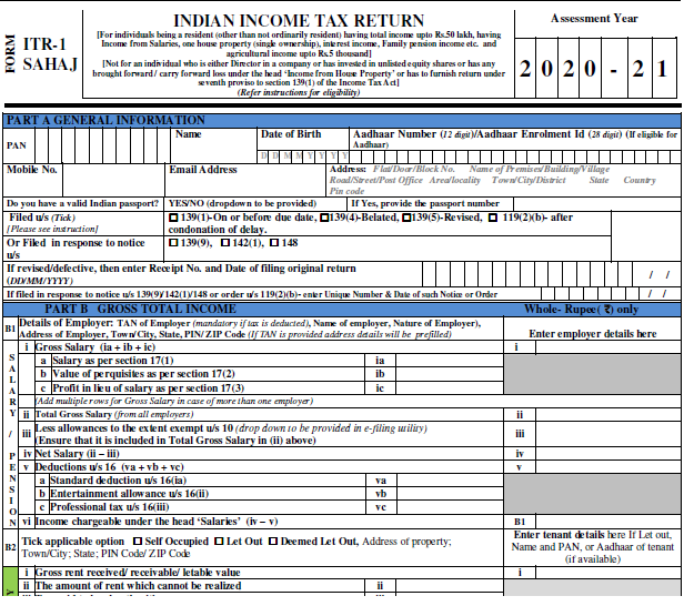 CBDT notifies ITR-1 and ITR-4 for Assessment year 2020-21