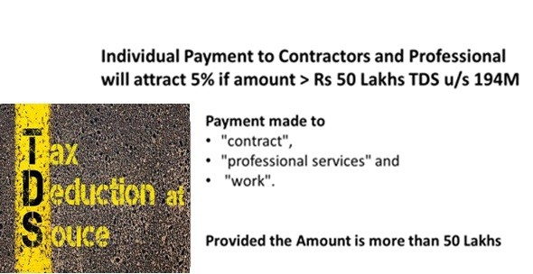 Individuals Paying to Contractors or Professional will attract 5% TDS if amount > Rs 50 Lakhs. u/s 194M from Sep 2019