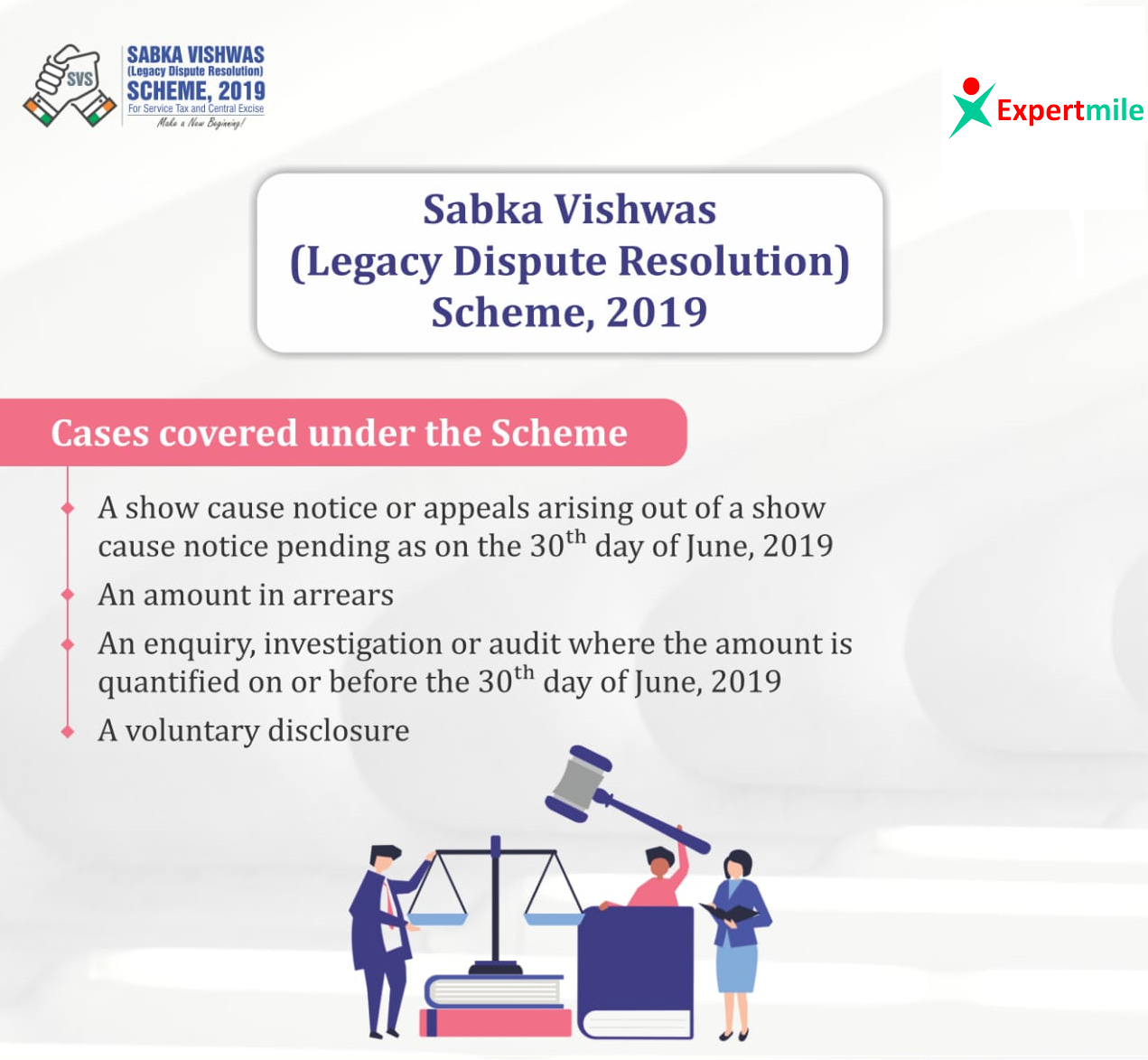 Sabka Vishwas (Legacy Dispute Resolution) Scheme, 2019 for Service Tax and Central Excise will be open from 1st September, 2019 providing dispute resolution and amnesty